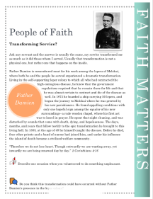 Faith                           Matters Father Damien